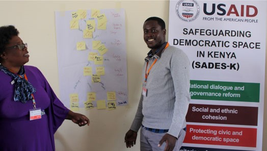 SCS Kenya M&E learners present their data flow map (July 2019, FHI 360)